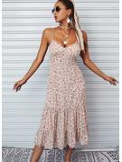 Blomstrete Trykk A-line kjole Ermeløs Midi Avslappet Ferie Typen Motekjoler