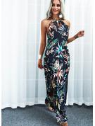 Blumen Druck A-Linien-Kleid Ärmellos Maxi Lässige Kleidung Skater Modekleider
