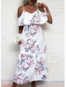 Blomster Print Kjole med A-linje 1/2 ærmer Maxi Casual skater Mode kjoler