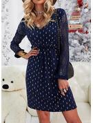 Spets Print Shiftklänningar Långa ärmar Midi Fritids Elegant Tunika Modeklänningar