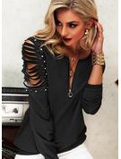 Perlen Einfarbig V-Ausschnitt Lange Ärmel Lässige Kleidung Blusen