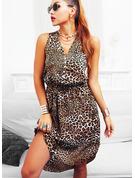 Leopard Sheath Sleeveless Midi Casual Vacation Tank Dresses