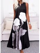 フローラル 印刷 シフトドレス ノースリーブ マキシ カジュアル ファッションドレス