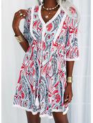 Print Kjole med A-linje 3/4 ærmer Mini Boho Casual skater Mode kjoler