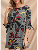 Floral Print Bodycon 3/4 Sleeves Mini Casual Dresses