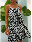 Leopard Shift Sleeveless Mini Casual Sexy Vacation Type Dresses