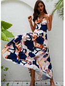 Tisk Do tvaru A Bezrukávů Maxi Neformální Elegantní Skaterové Módní šaty
