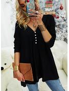 Spitze Einfarbig V-Ausschnitt Lange Ärmel Mit Knöpfen Lässige Kleidung Blusen