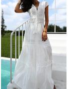 Spets Solid A-linjeklänning Korta ärmar Maxi Party Elegant Semester skater Modeklänningar