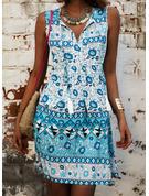 Print Shift Sleeveless Mini Boho Casual Vacation Tank Dresses
