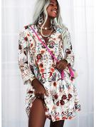 フローラル 印刷 シフトドレス フレアスリーブ 長袖 ミニ カジュアル 休暇 チュニック ファッションドレス