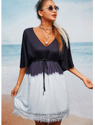 Lace Gradient A-line 1/2 Sleeves Mini Casual Vacation Skater Dresses