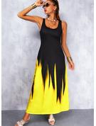 印刷 勾配 シフトドレス ノースリーブ マキシ カジュアル タンク ファッションドレス