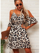 Leopard A-line 1/2 Sleeves Mini Casual Skater Dresses
