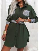 スパンコール シースドレス 長袖 ミニ カジュアル シャツワンピース ファッションドレス