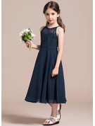 A-Line/Princess Scoop Neck Tea-Length Chiffon Lace Junior Bridesmaid Dress With Ruffle