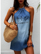 Print Shift Sleeveless Mini Denim Casual Dresses