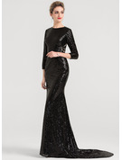 Trumpet/Mermaid Scoop Neck Court Train Sequined Evening Dress