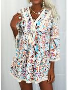 Blomster Print Blondér Tassel Skiftekjoler 3/4 ærmer Flare-ærmer Mini Casual Tunika Mode kjoler