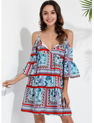 Print Shift Cold Shoulder Sleeve Mini Casual Vacation Dresses