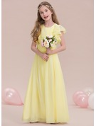 A-Line/Princess Scoop Neck Floor-Length Chiffon Junior Bridesmaid Dress With Ruffle Cascading Ruffles