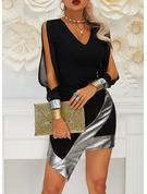 Payetler Conică Mâneci Lungi Mânecă Crăpată Mini Negre Parti Sexy Moda Elbiseler