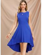 Sólido Vestido línea A Sin mangas Asimétrico Estilo de la vendimia Elegante Patinador Vestidos de moda