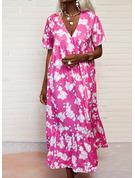Blomster Print Skiftekjoler Korte ærmer Maxi Ferie Mode kjoler