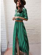 Gepunktet Druck gestreift A-Linien-Kleid 1/2 Ärmel Maxi Lässige Kleidung Urlaub Hemdkleider Skater Modekleider