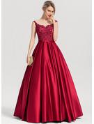 Ball-Gown/Princess Scoop Neck Floor-Length Satin Evening Dress With Sequins