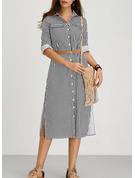 Rand A-linjeklänning 3/4 ärmar Midi Boho Fritids Skjortklänningar Modeklänningar