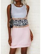 Leopard Color Block Print Skiftekjoler Ærmeløs Mini Elegant Mode kjoler