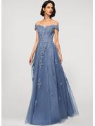 A-Line Off-the-Shoulder Floor-Length Tulle Lace Wedding Dress