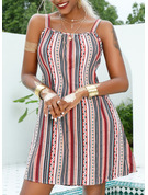 Print Striped Shift Sleeveless Mini Casual Vacation Type Dresses