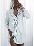 固体 シフトドレス 長袖 ミニ エレガント チュニック ファッションドレス