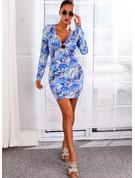 Print Bodycon Lange ærmer Mini Sexet Mode kjoler