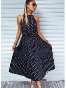 Gepunktet Druck A-Linien-Kleid Ärmellos Maxi Lässige Kleidung Skater Modekleider