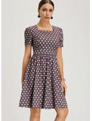 A pois Abiti Linea A Maniche corte Midi stile vintage Casuale Elegante Vestiti di moda
