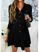 Solid A-line Long Sleeves Mini Little Black Casual Elegant Shirt Skater Dresses