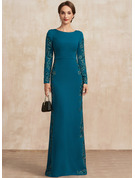 Sheath/Column Scoop Neck Floor-Length Stretch Crepe Mother of the Bride Dress With Appliques Lace
