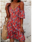Floral Print Shift 1/2 Sleeves Cold Shoulder Sleeve Mini Casual Vacation Dresses