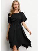 Solido Abiti Linea A Maniche corte Midi Piccolo nero Casuale Elegante Vestiti di moda