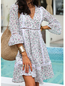 Floral Print Shift 3/4 Sleeves Midi Boho Casual Vacation Tunic Dresses
