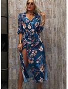 Květiny Tisk Do tvaru A 3/4 rukávy Maxi Neformální Dovolená Košilové šaty Skaterové Módní šaty