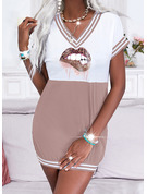 Leopardo Trozos de color Impresión raya Vestidos sueltos Manga Corta Mini Casual Vestidos de moda