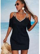 pailletter Solid Skede 1/2 ærmer Mini Den lille sorte Casual Ferie Mode kjoler
