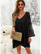 Spitze Einfarbig V-Ausschnitt Schlagärmel Lange Ärmel Mini Modekleider