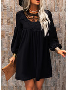 Lace Solid Shift Long Sleeves Mini Little Black Elegant Tunic Dresses