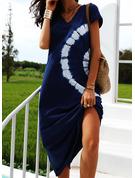 Print Shift Short Sleeves Maxi Casual Vacation T-shirt Dresses