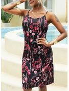 Floral Impresión Vestido línea A Sin mangas Mini Casual Tipo Vestidos de moda